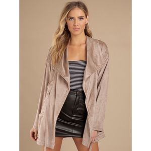 Tobi faux suede taupe jacket